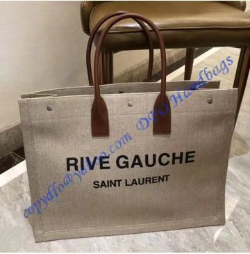 Saint Laurent Linen Rive Gauche Bag with Brown Leather Handle