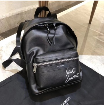 YSL Mini Toy City Embroidered Backpack in Black Leather