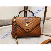 Monogram College Medium Leather Shoulder Bag with a Wooden and Metal Handle