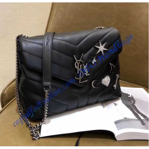 9fc398559148 YSL Small Loulou Chain Bag in Black Y Matelasse Leather. Loading zoom
