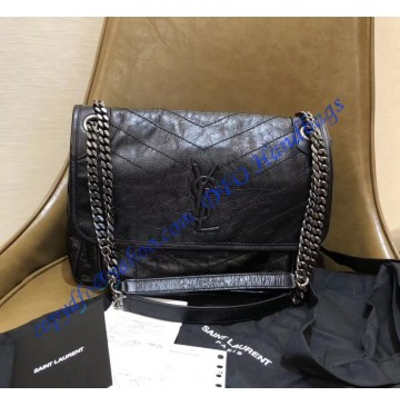 Saint Laurent Medium Niki Chain Bag in Crinkled and Quilted Black Leather