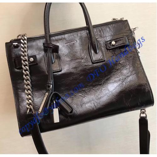 d57e4863ed34 Saint Laurent Baby Sac De Jour Souple Duffle Bag in Black Moroder Leather.  Loading zoom