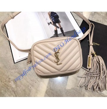 Saint Laurent Chevron Lou Belt Bag Nude Pink