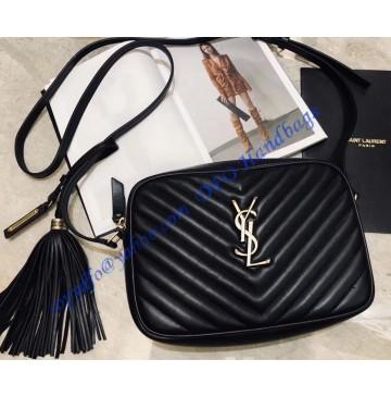 Saint Laurent Lou Camera Bag in Black Matelasse Leather