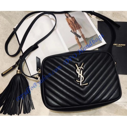 ed50f2bc32b7 Saint Laurent Lou Camera Bag in Black Matelasse Leather. Loading zoom