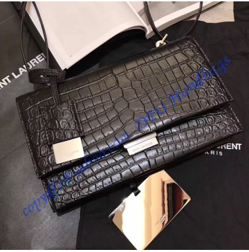 Saint Laurent Small Babylone Satchel in Black Crocodile Embossed leather