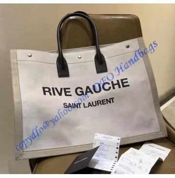 Saint Laurent Linen Rive Gauche Bag with Black Leather Handle