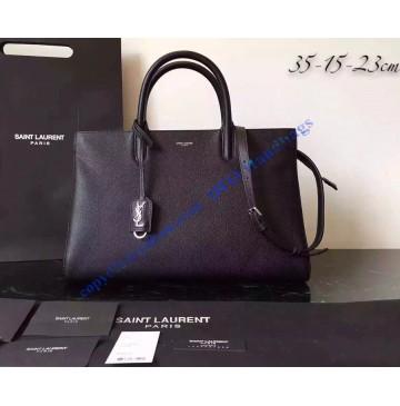 Saint Laurent Medium Cabas RIVE GAUCHE Bag in Black Grained Leather
