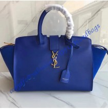 Saint Laurent Baby Monogram Downtown Cabas Bag in Blue Calfskin and Suede