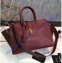 Saint Laurent Baby Monogram Downtown Cabas Bag in Wine Red Calfskin and Snakeskin