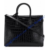 Saint Laurent Classic Small SAC DE JOUR Bag in Black Crocodile Embossed Leather