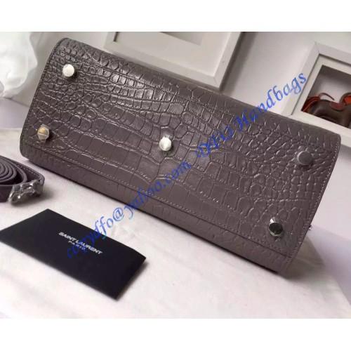 2d1e976400252 Saint Laurent Classic Small SAC DE JOUR Bag in Gray Crocodile Embossed  Leather