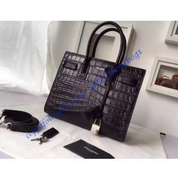 Saint Laurent Classic Baby SAC DE JOUR Bag in Black Crocodile Embossed Leather