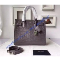Saint Laurent Classic Baby SAC DE JOUR Bag in Gray Crocodile Embossed Leather