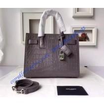 Saint Laurent Classic Baby SAC DE JOUR Bag in Gray Crocodile Embossed Leather