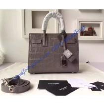 3a40590223736 Saint Laurent Classic Nano SAC DE JOUR Bag in Gray Crocodile Embossed  Leather