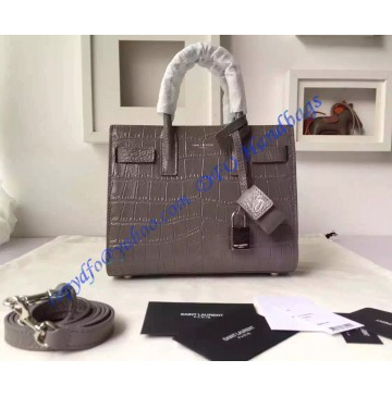 Saint Laurent Classic Nano SAC DE JOUR Bag in Gray Crocodile Embossed Leather
