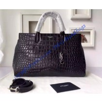 Saint Laurent Medium Cabas RIVE GAUCHE Bag in Black Crocodile Embossed Leather