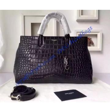 Saint Laurent Medium Cabas RIVE GAUCHE Bag in Black Crocodile Embossed Leather