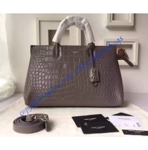 Saint Laurent Medium Cabas RIVE GAUCHE Bag in Gray Crocodile Embossed Leather