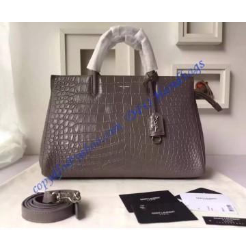 Saint Laurent Medium Cabas RIVE GAUCHE Bag in Gray Crocodile Embossed Leather