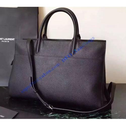 469851abf0 Saint Laurent Medium Cabas RIVE GAUCHE Bag in Black Grained Leather