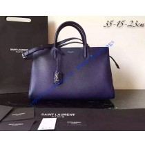 Saint Laurent Medium Cabas RIVE GAUCHE Bag in Dark Blue Grained Leather