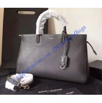 Saint Laurent Medium Cabas RIVE GAUCHE Bag in Dark Gray Grained Leather