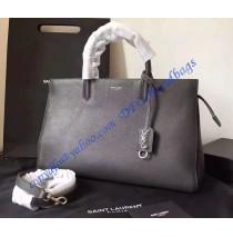 Saint Laurent Medium Cabas RIVE GAUCHE Bag in Dark Gray Grained Leather