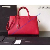 Saint Laurent Medium Cabas RIVE GAUCHE Bag in Red Grained Leather
