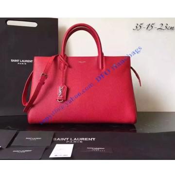 Saint Laurent Medium Cabas RIVE GAUCHE Bag in Red Grained Leather