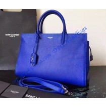 Saint Laurent Medium Cabas RIVE GAUCHE Bag in Royal Blue Grained Leather