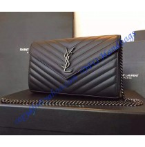 Monogram Saint Laurent Chain Wallet in Black Textured Matelasse Leather with Gun-metal Toned Hardware