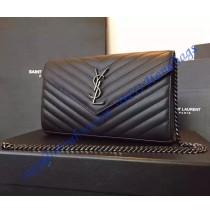 Monogram Saint Laurent Chain Wallet in Black Textured Matelasse Leather with Gun-metal Toned Hardware