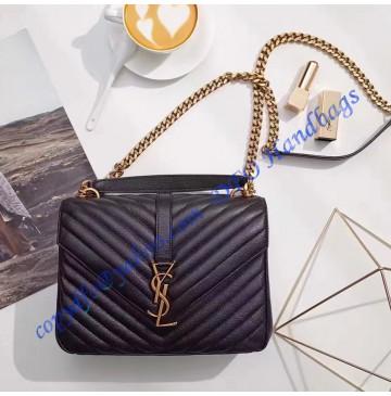 Saint Laurent Classic Medium College Monogram Bag in Black Malelasse Leather with Gold-toned Hardware