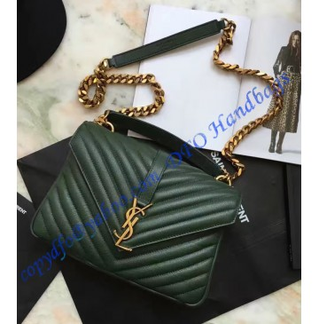 Saint Laurent Classic Medium College Monogram Bag in Green Malelasse Leather with Gold-toned Hardware