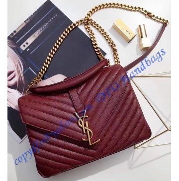 Saint Laurent Classic Medium College Monogram Bag in Wine Red Malelasse Leather with Gold-toned Hardware