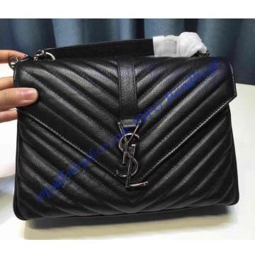 Saint Laurent Classic Medium College Monogram Bag in Black Malelasse Leather