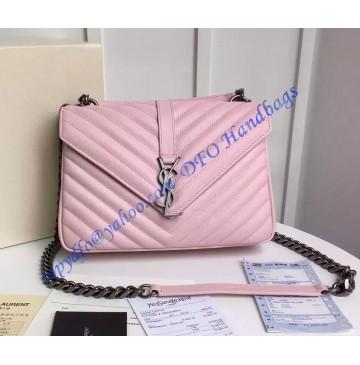Saint Laurent Classic Medium College Monogram Bag in Pink Malelasse Leather