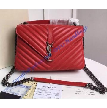 Saint Laurent Classic Medium College Monogram Bag in Red Malelasse Leather