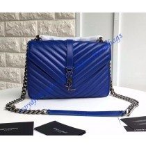 Saint Laurent Classic Medium College Monogram Bag in Royal Blue Malelasse Leather