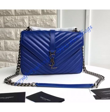 Saint Laurent Classic Medium College Monogram Bag in Royal Blue Malelasse Leather