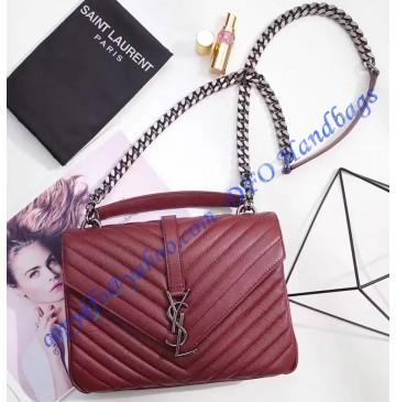 Saint Laurent Classic Medium College Monogram Bag in Wine Red Malelasse Leather