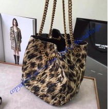 Saint Laurent Classic Baby Emmanuelle Chain Bucket Bag in Leopard Woven Polyester