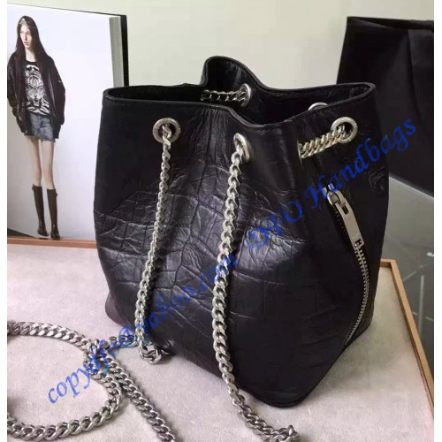 d49cee20cb9 Saint Laurent Classic Baby Emmanuelle Chain Bucket Bag in Black Crocodile  Embossed Leather