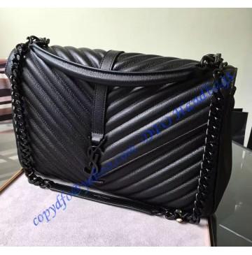 Saint Laurent Classic Large College Monogram Bag in Black Malelasse Leather with Black-toned Hardware