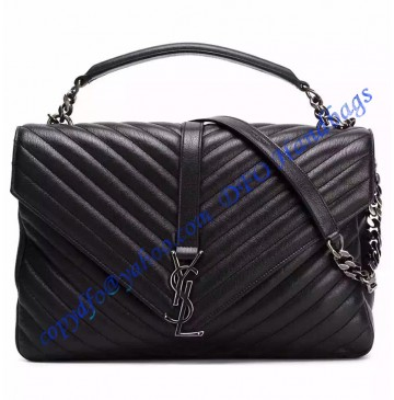 Saint Laurent Classic Large College Monogram Bag in Black Malelasse Leather