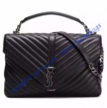 Saint Laurent Classic Large College Monogram Bag in Black Malelasse Leather