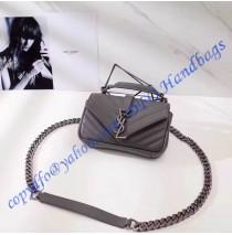 Saint Laurent Classic Baby College Monogram Chain Bag in Gray Matelasse Leather