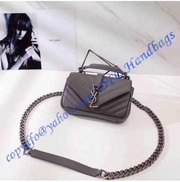 Saint Laurent Classic Baby College Monogram Chain Bag in Gray Matelasse Leather